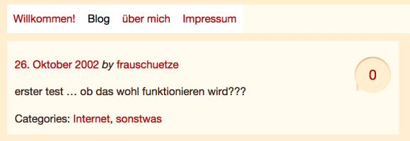Screenshot des ersten Artikels von Frau Schütze aus 2002.