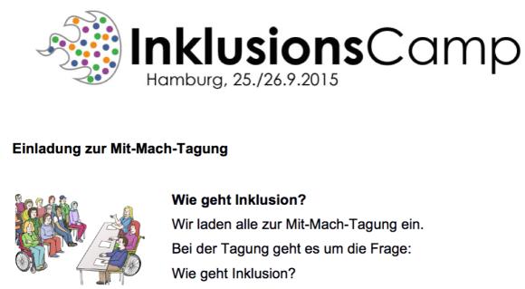 Inklusionscamp - Einladung in leichter Sprache