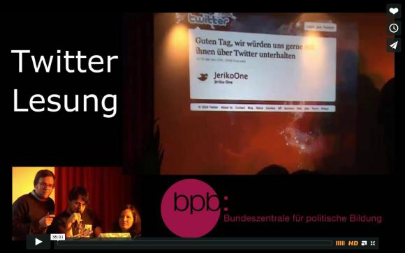 Twitterlesung mit Bosch 2010 (Video unten)