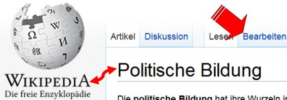 Wikipedia und politische Bildung (beinhaltet Screenshot von http://de.wikipedia.org/wiki/Politische_Bildung)