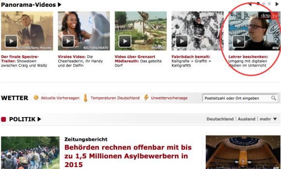 Jöran auf der Startseite von Spiegel Online