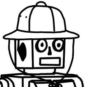 Der MLAB-Roboter - in Kurs #2 mit Expeditionshut - Grafik unter CC BY 3.0 DE by Martina Miocevic