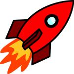 Zeichnung einer kleinen roten Rakete