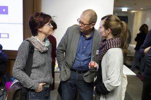 Ilka Goetz und Sara Lange (BITS 21) und Prof. Dr. Berward Hoffmann (FH Münster); Thomas Imo/ photothek.net
