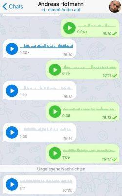 Kulturtechnik Schreiben im erweiterten Verständnis: Andreas Hofmann kommuniziert via WhatsApp (eine Reihe von Sprachnachrichten als Verlauf der Unterhaltung)