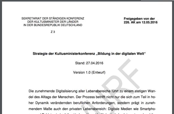 """Screenshot von Seite 1 des Papiers """"Bildung in der digitalen Welt"""""""