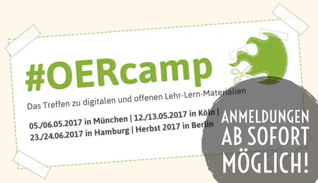 Anmeldungen zum OERcamp sind ab sofort möglich
