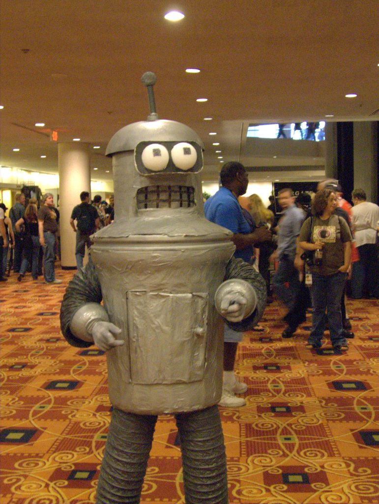 ein Mensch in einem Bender-Kostüm
