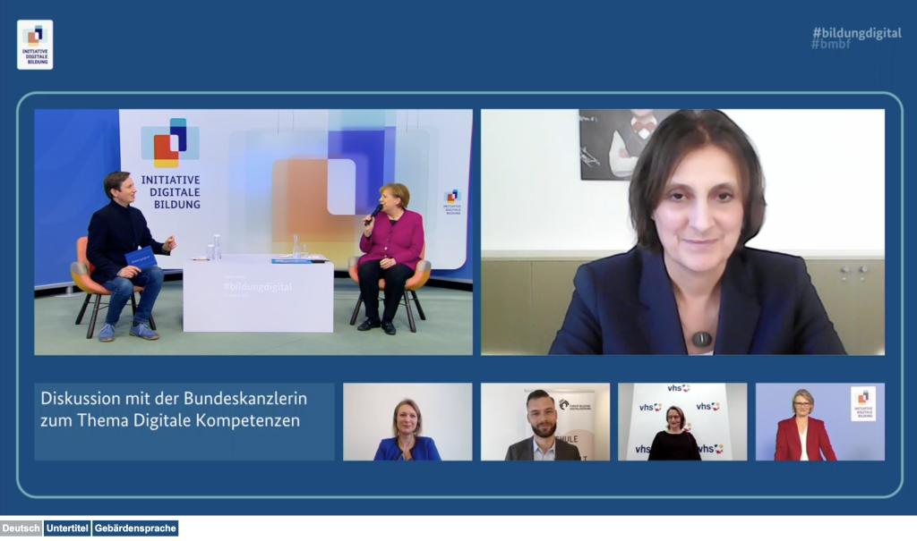 Screenshot des Livestreams mit Kanzlerin und vielen anderen