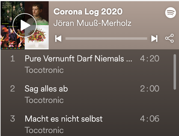 "ein Screenshot der Playlist ""Corona Log"" von Spotify"