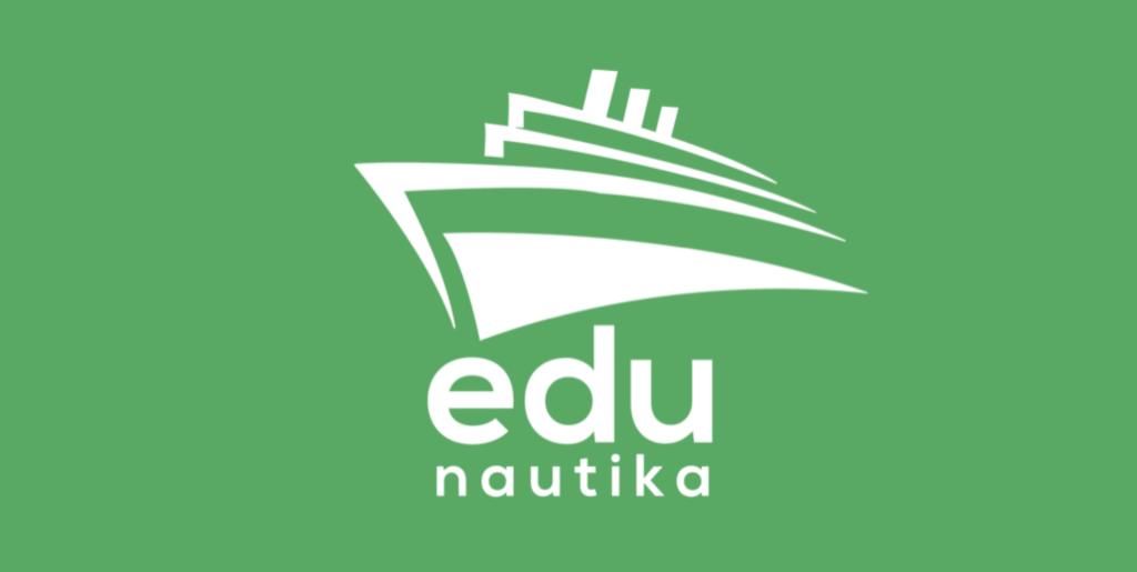 das Logo der edunautika – ein weißes Schiff auf grünem Grund