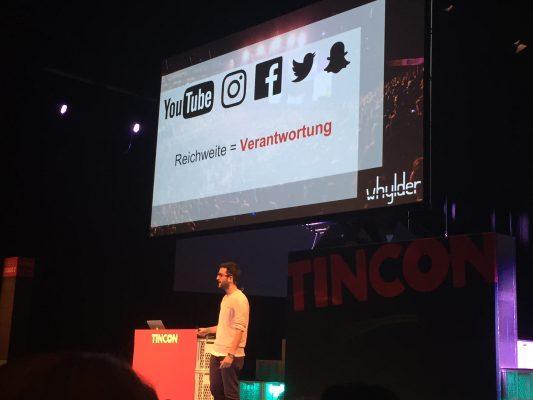 """TINCON 2016: Oguz Yilmaz macht eine klare Ansage (Folie mit """"Reichweite = Verantwortung"""")"""