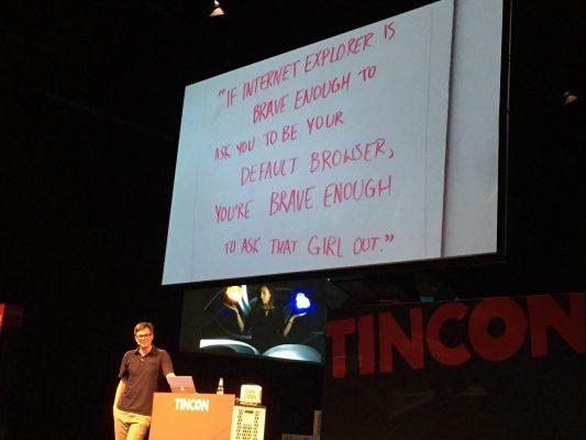 TINCON 2016: Ralph Caspers zeigt Sachen aus dem Fernsehen und dem Internet (Folie über Internet Explorer)