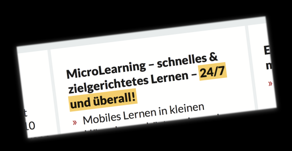 "Text ""Microlearning – 24/7 und überall"""