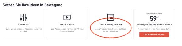 """lizenzfreie Bilder und Videos (""""Lizenzierung löschen"""")"""