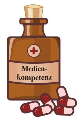 """Eine Flasche Medizin mit herumliegenden Tabletten, auf der Verpackung steht """"Medienkompetenz"""""""