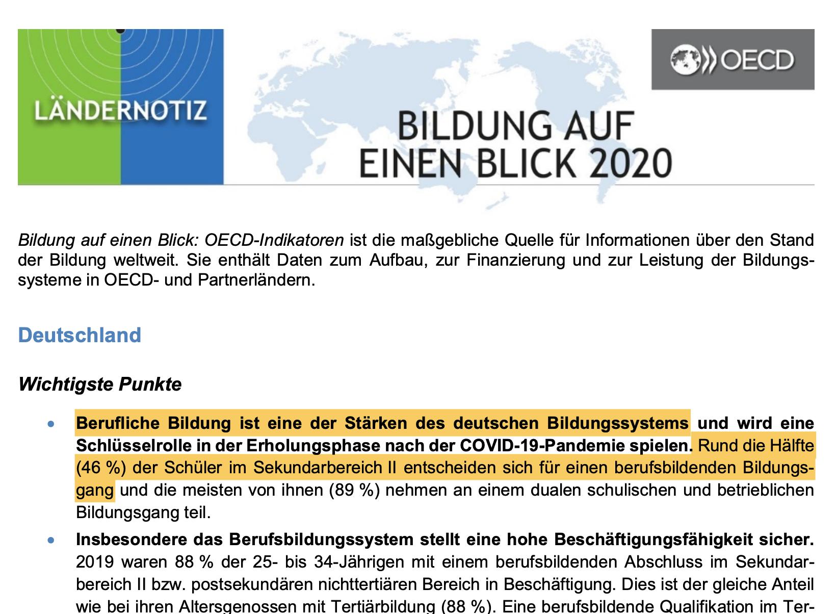 Berufliche Bildung ist eine der Stärken des deutschen Bildungssystems und wird eine Schlüsselrolle in der Erholungsphase nach der COVID-19-Pandemie spielen. Rund die Hälfte (46 %) der Schüler im Sekundarbereich II entscheiden sich für einen berufsbildenden Bildungs- gang und die meisten von ihnen (89 %) nehmen an einem dualen schulischen und betrieblichen Bildungsgang teil.