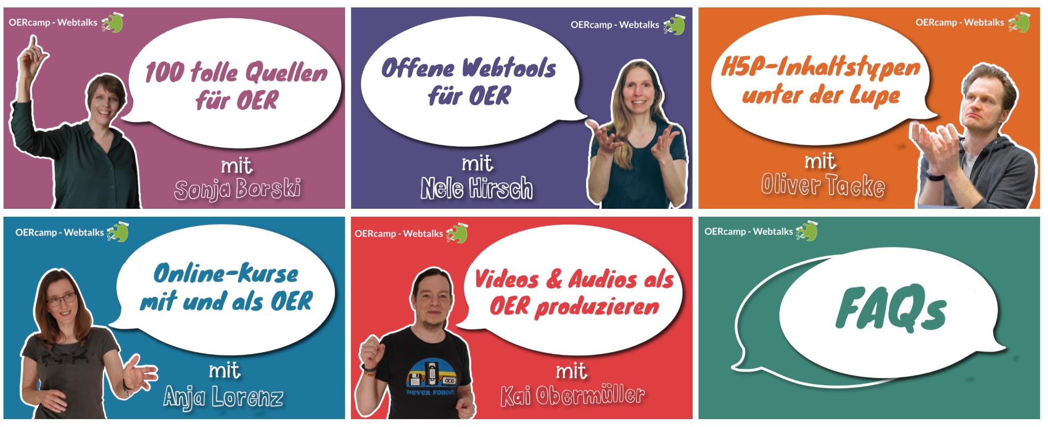 die 5 Coaches der OERcamp-Webtalks und ihre Themen