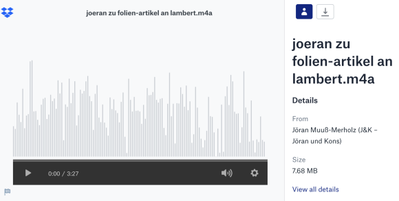 ein Dropbox-Screenshot mit einem Audioplayer